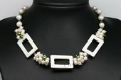 PN606 Pearl Cluster Necklace with Ablong White Shell Beads