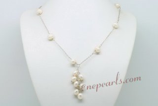 Pn608 White Potato Pearl and Rice Pearl Lariat Tassel Necklace