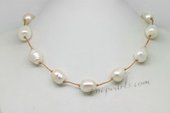 Pn609 12-14mm Large Freshwater Rice Pearl Cord Princess Necklace