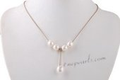 Pn610 Hand Strung 9-10mm White Rice Pearl and Cord Princess Necklace