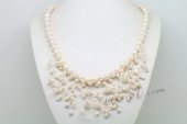 Pn611 Fantastic Hand Knotted White Potato Pearl Illusion Princess Necklace