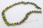 Pn614 Charmming Oliver Green Dancing Pearl Princess Necklace with Crystal