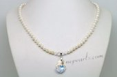 Pn618 Elegant Hand Knotted Cultured Pearl Necklace with Austria Pendant