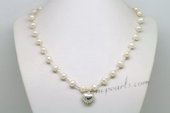 Pn619 Elegant Cultured Pearl and 925Silver Pipe Princess Necklace
