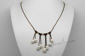 Pn624 Dazzling White Rice Pearl and Dark Cord Movable Necklace