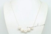 Pn628 Hand Wired 925silver rolo chain& Whorl Pearl Necklace