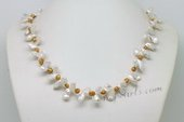 Pn630 Lovely White Keshi Pearl  Princess Necklace