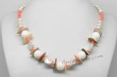 Pn632 Freshwater Potato Pearl Necklace with Shell and Tridacna beads