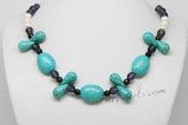 Pn635 Freshwater Potato Pearl Necklace with Turquoise & Amethyst