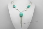 Pn636 Pendant Style Freshwater Pearl Necklace with Coin White Pearl and Turquoise