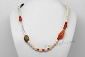 Pn637 Freshwater Pearl Necklace with Rice Pink Pearl, Agate & Tiger Eye