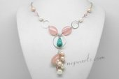 Pn640 Pendant Style Freshwater Pearl Necklace with Rose Quartz