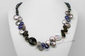 Pn648 Freshwater Pearl Necklace with 7-8mm Nugget Pearls, Coin Pearl & Smoky Crystal