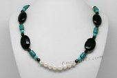 Pn649 Freshwater Pearl Necklace with 8-9mm Potato Pearls, Agate and Turquoise