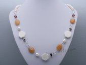 Pn653 Hand Warped Freshwater Pearl Necklace with Gemstone Beads