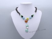 Pn655 Hand Strung Smoky Quartz Gemstone Princess Necklace