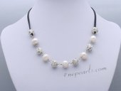 Pn656 Hand Warped 11-12mm Freshwater Whorl Pearl Leather Necklace