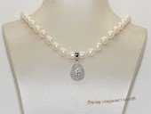 Pn658 Hand Knotted White Rice Pearl Necklace with Silver Drop Charm