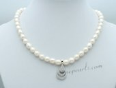 Pn659 Freshwater Rice Pearl and Sterling Silver Drop Pendant Necklace