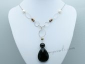 Pn661 Hand Wired Cultured Pearl Necklace with Black Crystal Pendant