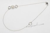 Pn664 Fashion Large Potato Pearl and Sterling Silver Necklace