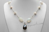 Pn665 Stylist Hand Wired Potato Pearl and Gemstone Prom Necklace