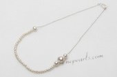 Pn667 Handcrafted Freshwater Seed Pearl 925 Silver Prom Necklace