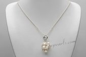 Pn668 Fashion sterling silver Pearl Cluster Pendant Chain Necklace