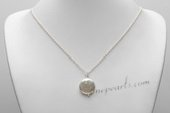 Pn671 Elegance sterling silver 16-17mm Coin Shape Pearl Pendant necklace
