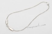 Pn672 Modern Design Sterling Silver Freshwater Biwa  Pearl Princess Necklace