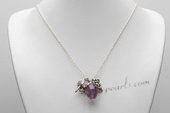 Pn673 Beautiful sterling silver chain necklace with Gem Cluster Pendant