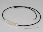 pn678  large 10-11mm white potato pearl black rubber corde necklace