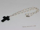 pn679   Hand wired 6-7mm white rice pearl necklace dangling with a cross pendant