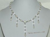 pn682   6-7mm White Potato Freshwater Pearl Siver Tone Chain Necklace With Crystal Beads