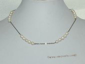 pn683   5-6mm White Rice Freshwater Pearl Siver Tone Chain Necklace