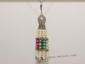 pn690 Tassel Seed Pearls Pendant with  Zircon & Silver Tone fitting