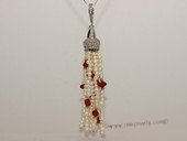 pn692 Freshwater Seed Pearls Tassel Pendant with Silver Tone fitting