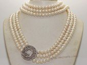 pn699 Three Layer Rows Cultured bread Pearl Necklace