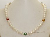 pn703 Single Strand White Color Cultured button Pearl & Gemstone Necklace