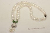 pn704 Freshwater Pearl Necklace with 8-9mm white Potato Pearls