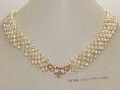 pn705 Hand Knitted 4-5mm white potato pearl necklace with crown shape fitting
