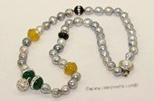 pn706 Single Strand Grey Color Sea Water Pearl & Gemstone Necklace