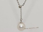 pn709  Beautiful sterling silver chain necklace with 9-10mm round pearl