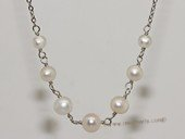 pn712 4-8mm potato pearl necklace with  metal chain