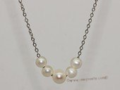 pn713 6-8mm potato pearl necklace with  silver tone chain