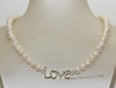 "pn716 Freshwater Potato Pearl with ""Love"" charm Necklace"