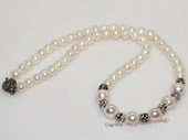 pn718 gratuate cultured pearl with siver tone fitting necklace