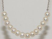 pn732  Sterling Silver Chain Freshwater Button Pearl Necklace