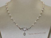 pn734 Hand wired 4-5mm white potato pearl necklace  with sterling silver fitting