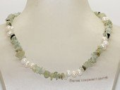 pn748 Eye-catching green Peridot  and  freshwater pearl necklace